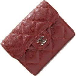 Chanel coin case matelasse Bordeaux leather used coin purse mini-wallet here mark compact card case mini-wallet quilting CHANEL