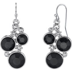 Womens Downton Abbey(R) Black Chrystal Chanel Cluster Drop Earrings